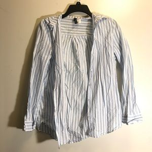 blue & white striped button down shirt